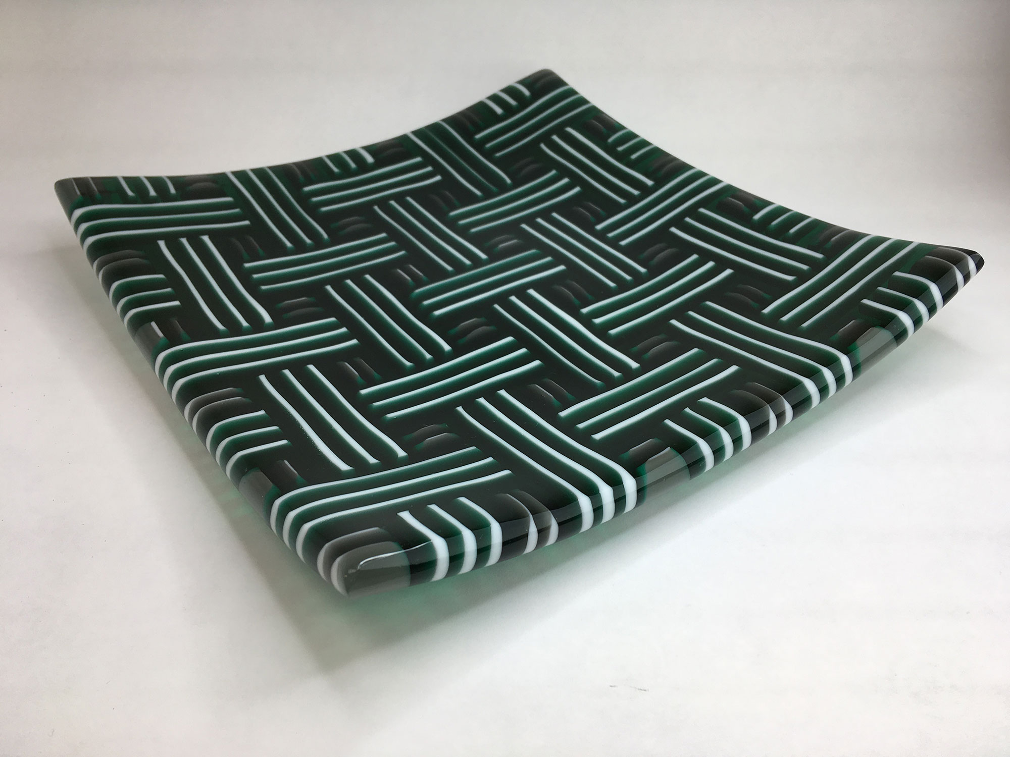 Green, Gray, and White Strip Cut Plate