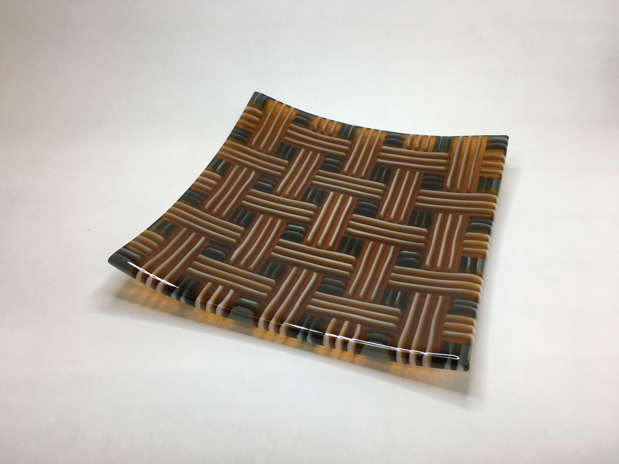 Gray, Amber, and White Strip Cut Square Plate