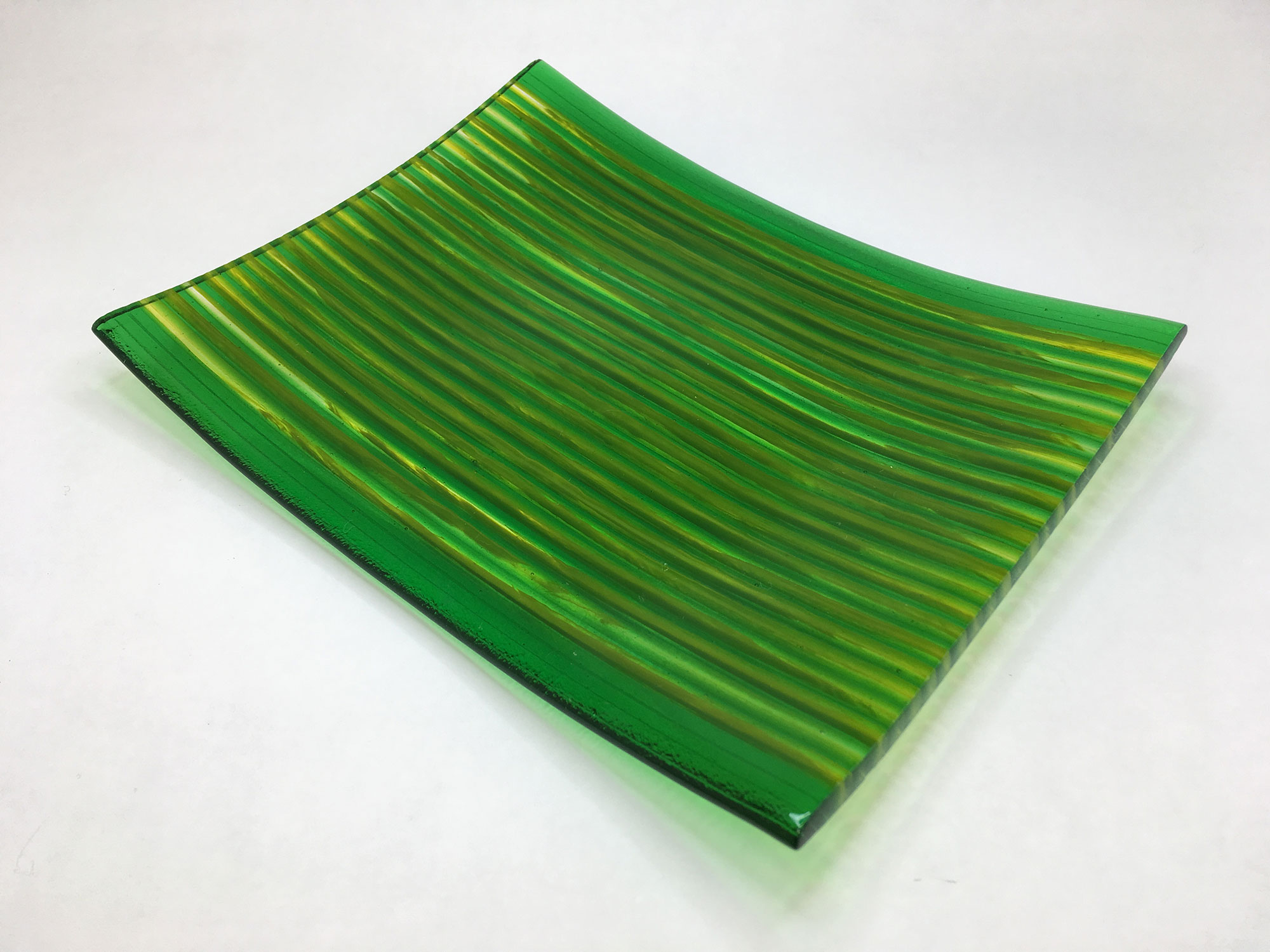 Strip Cut Green and Yellow Square Plate