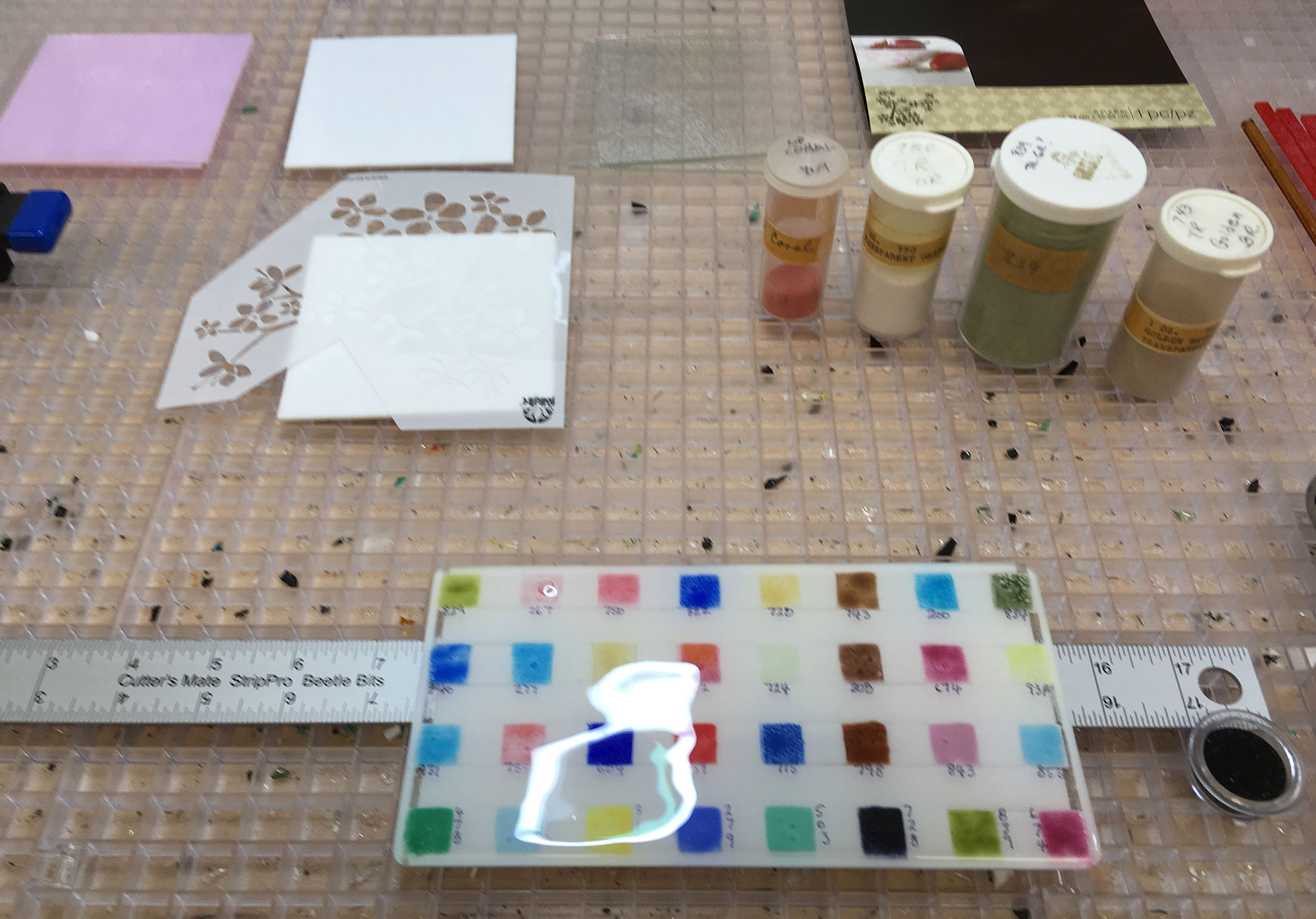 Stencil and Enamels